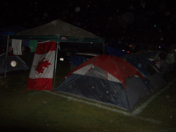 Oh, Canada... Scene at night from the car campground.