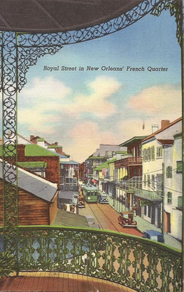 "Postmarked Jan 17, 1941. The Caption: ""Royal Street is known throughout the world for it's curio dealers, perfume shops and antique stores where one can find beautiful specimens of old furniture, jewelry, chinaware and ancient firearms. In early Creole days Rue Royal was the main street of the French City and along its narrow thoroughfare are clustered many historical buildings. Every block of Royal Street teems with interest. It is one of the most interesting streets because of the many old homes, priceless wrought-iron railings, quaint courtyards and lovely gardens."""