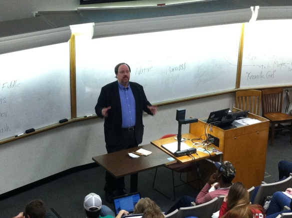 Shane Rhyne doing a guest lecture in my GEO 101 class, October 23, 2014.