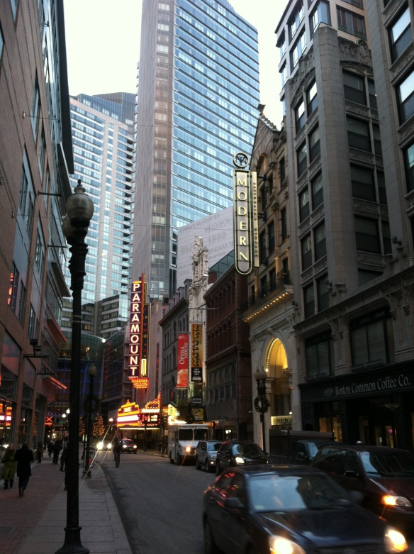 Downtown crossing at sunset. Photo by Tyler.