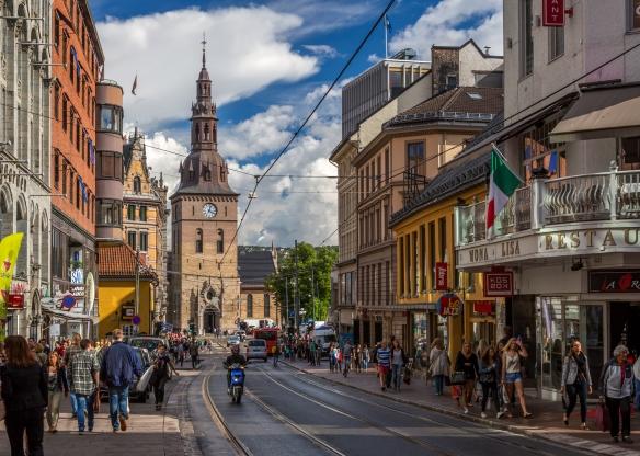Grensen Looking Toward Oslo Domkirke