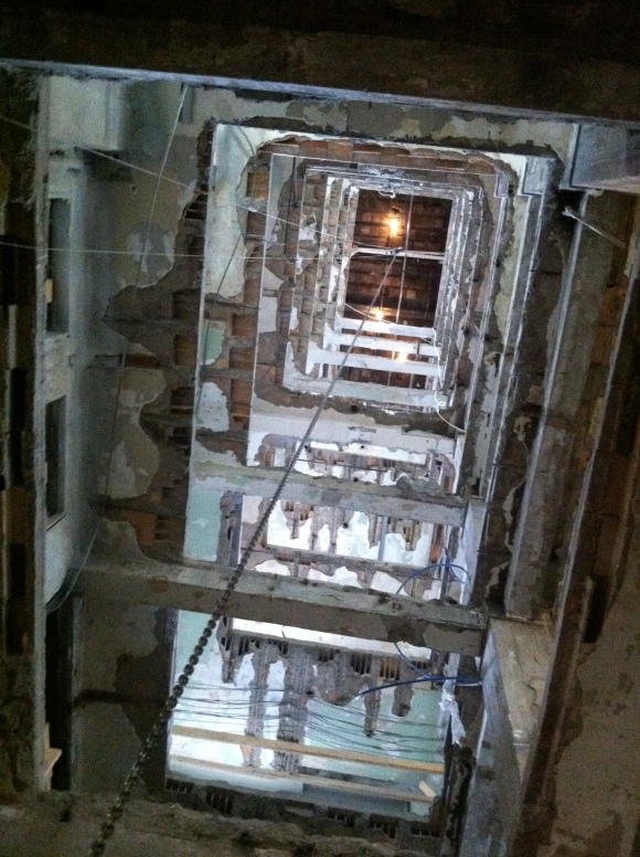 The main elevator shaft, currently ripe for an action movie.