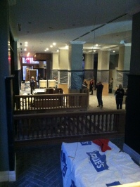 The lobby, taken standing over the original stairs down to the Clinch Ave entrance.
