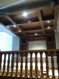 The beautiful wood finishing on a nook next to the Clinch Ave. entrance that's going to be a library.