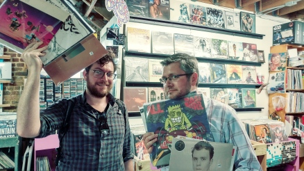 Nathan and I have never had to pose with records before, but you know how demanding social media can be.