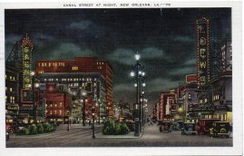Canal Street at Night (Postcard Mailed Feb. 1937)