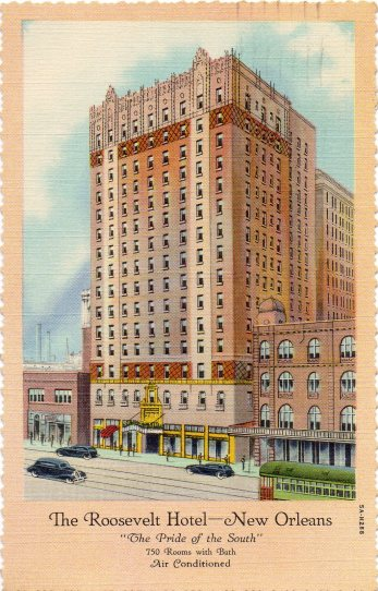 Postcard depicting The Roosevelt Hotel mailed by Ben Irving in February 1937.