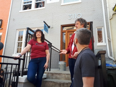 Melissa Quinley and Brian Lowit chat with the DC Punk Walking Tour outside of Mt. Desert Island Ice Cream, 04.06.19. Sorry about my massive head, Brian. (Marton Berki Photo)